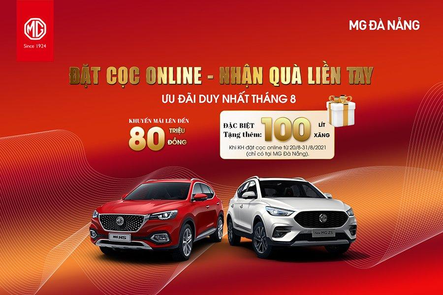 Đặt cọc online 10 triệu đồng nhận 100 lít xăng và ưu đãi lên đến 80 triệu khi mua xe tại MG Đà Nẵng